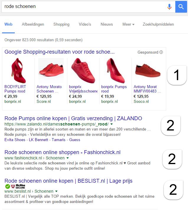 zoekresultaat rode schoenen eduwebsupport