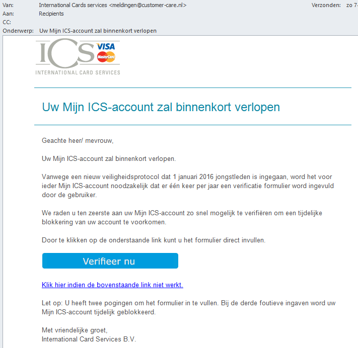 Fraude mail Phishing