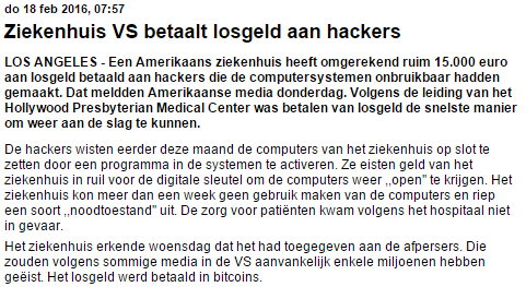 artikel de Telegraaf over hackers